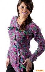 Пуловер с атласными ленточками
