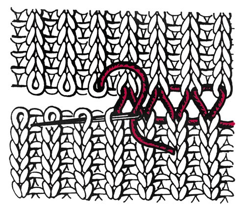Трикотажный шов в вязании спицами