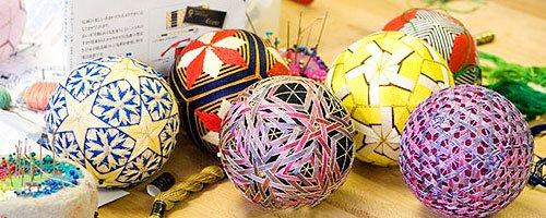 японский шар темари, шары из ниток, узоры из ниток, темари