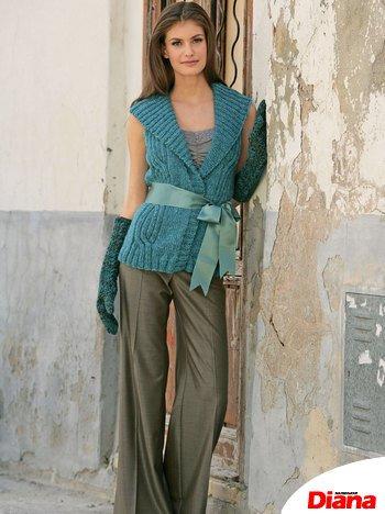 Комментарий: Меланжевый жилет с косами, вязание.