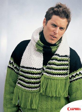 Узоры вязания на спицах для шарфа мужского.