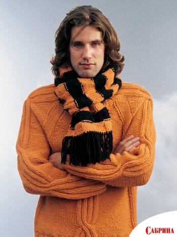 шарф вязаный мужской фото. шарф снуд спицами схемы вязания инструкция.